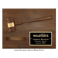 Engraved Sound Block Gavel Plaque