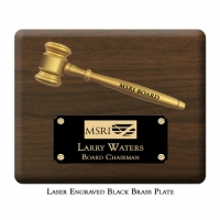 "Engraved Split 8"" Gavel Plaque"