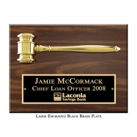 Engraved Split Metal Gavel Plaque