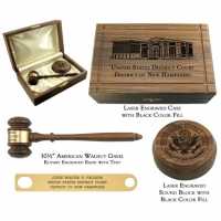 "10-1/2"" Royal American Walnut Gavel Presentation Set"