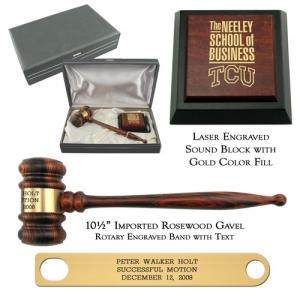 Engraved Imported Rosewood Chairman Gavel Presentation Set