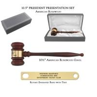 "10.5"" American Rosewood Gavel, President Set"