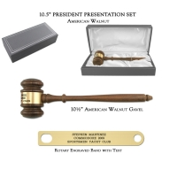 "10.5"" American Walnut Gavel, President Presentation Set"