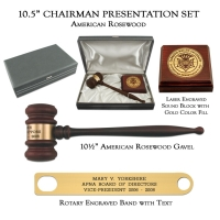 "10.5"" American Rosewood Gavel, Chairman Presentation Set"