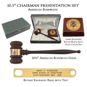 "10.5"" American Rosewood Gavel, Chairman Presentation Set"