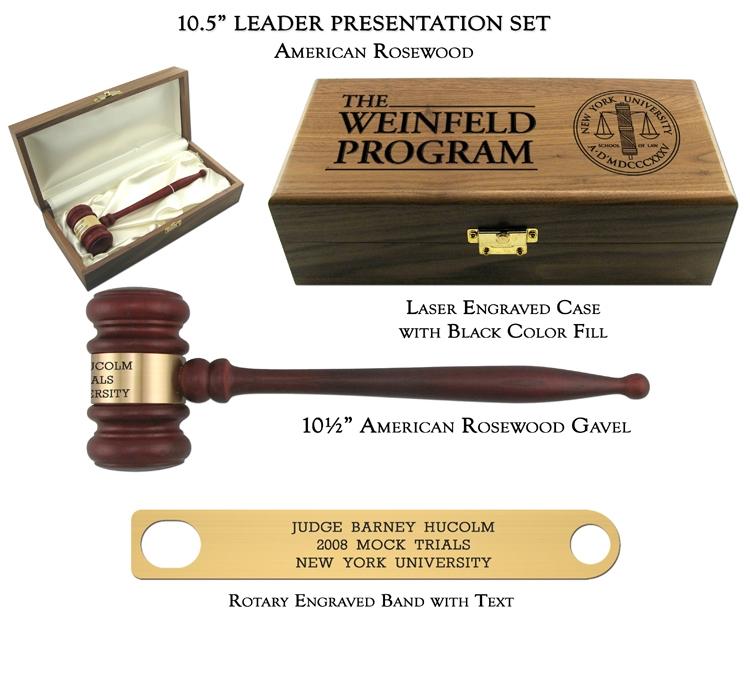 "10.5"" American Rosewood Gavel, Leader Presentation Set"