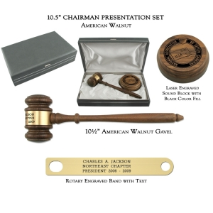 "10.5"" American Walnut Gavel, Chairman Presentation Set"