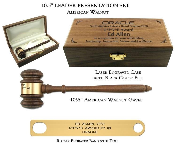 "10.5"" American Walnut Gavel, Leader Presentation Set"