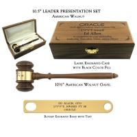 "10.5"" American Walnut Gavel, Leader Presentation Set"