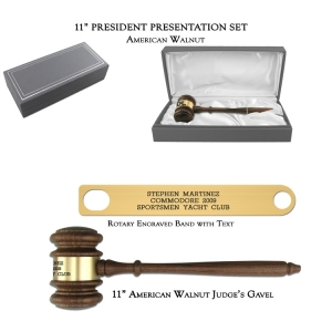"11"" American Walnut Gavel, President Presentation Set"
