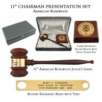 "11"" American Rosewood Gavel, Chairman Presentation Set"