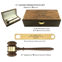 "11"" American Walnut Gavel, Leader Presentation Set"