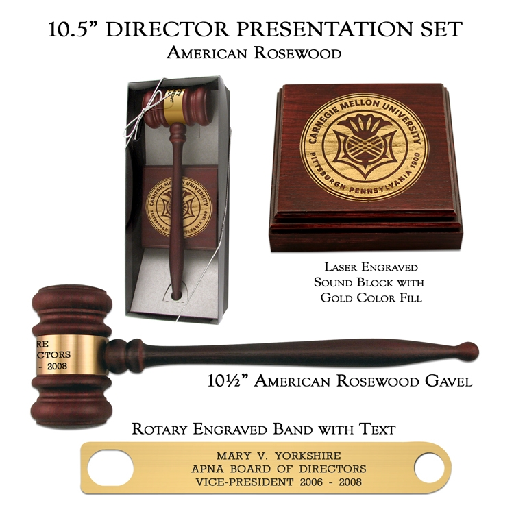 American Rosewood Director Gavel Presentation Set