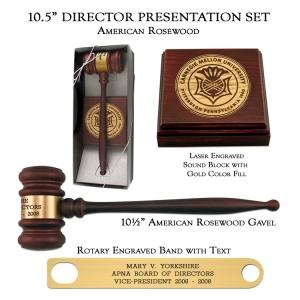 American Rosewood Director Gavel Presentation Set