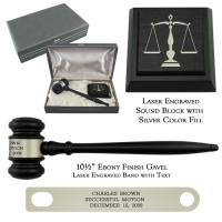Ebony Finish Chairman Gavel Presentation Set