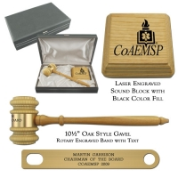Oak Finish Chairman Gavel Presentation Set