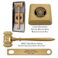 Oak Style Director Gavel Presentation Set