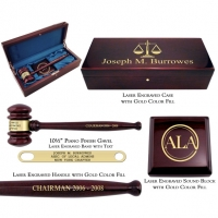 Engraved Piano Finish Gavel & Sound Block Presentation Set