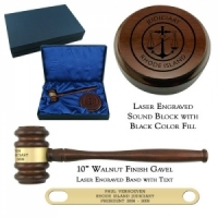 Engraved Walnut Gavel Presentation Set