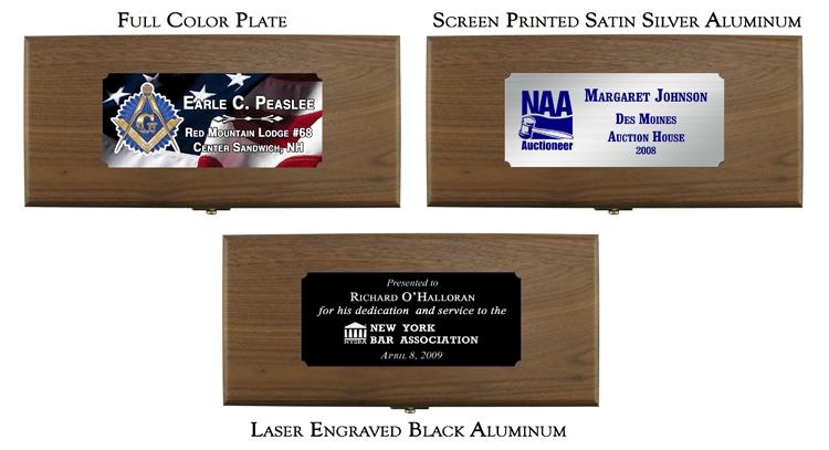 Full Color, Screen Print, Laser Engraved Silver Plates for Gavel Presentation Set