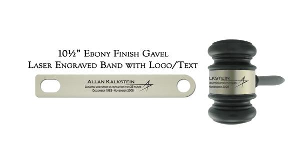 Laser Engraved Ebony Finish Gavel Band