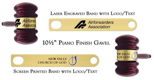 Engraved & Screen Printed Piano Finish Gavel Bands