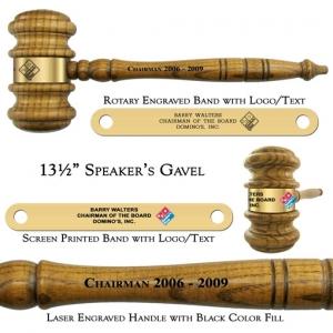 "Engraved Giant 13 1/2"" Speaker's Gavel with Sound Block Presentation Set"