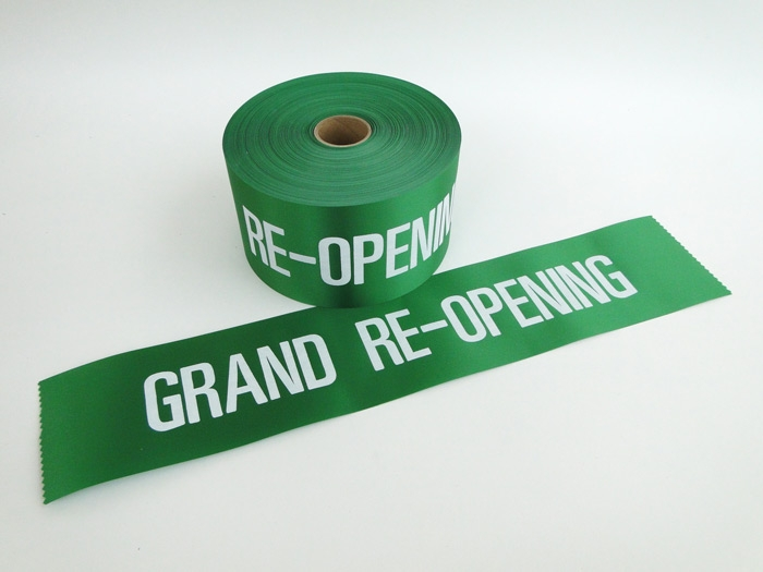 "4"" Green Grand Re-Opening Ribbon"