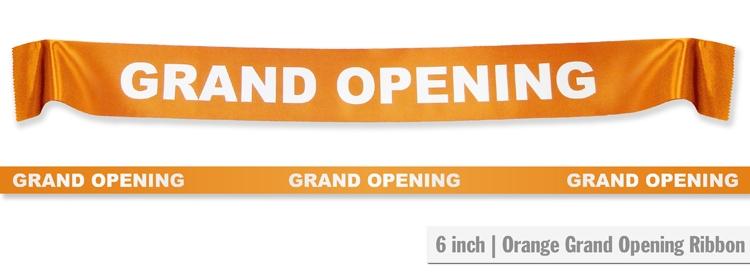 """6"""" Grand Opening Ribbon - Orange"""