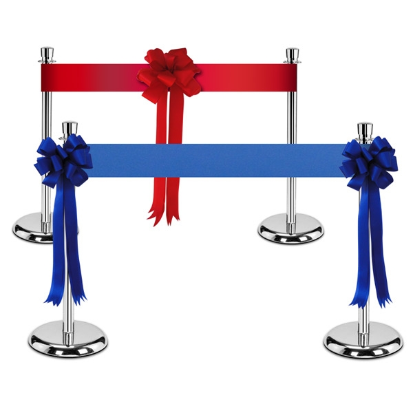 """Chrome Ceremonial Stanchions with 6"""" Blank Ribbon"""