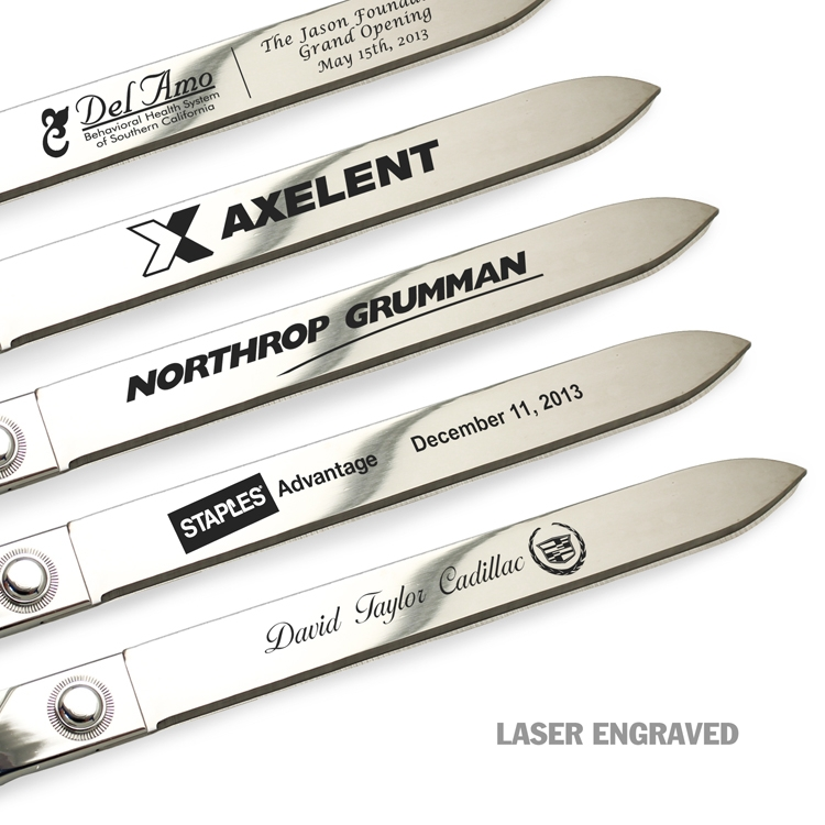 "15"" Chrome Ceremonial Scissors - Laser Engraved Examples"