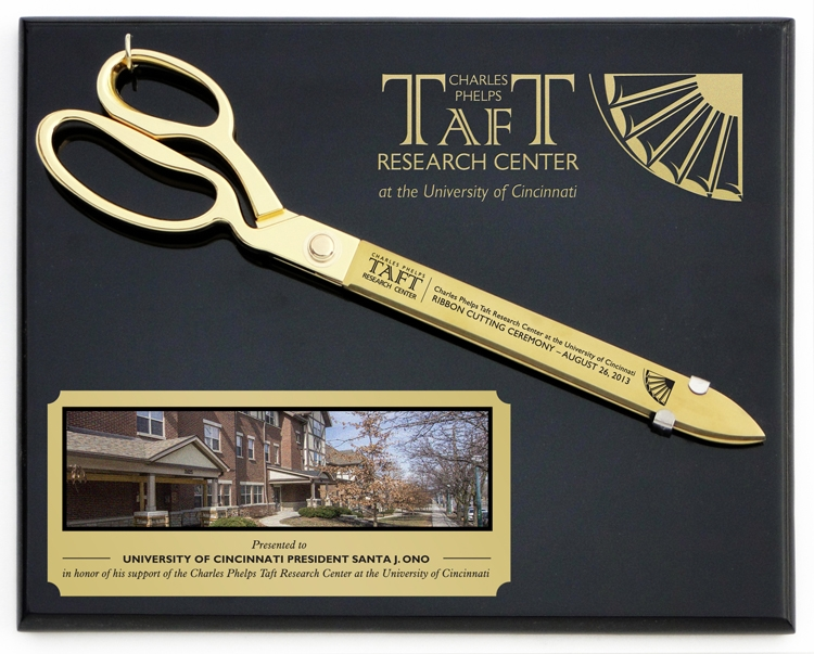 """15"""" Gold Ceremonial Ribbon Cutting Scissors Plaque"""