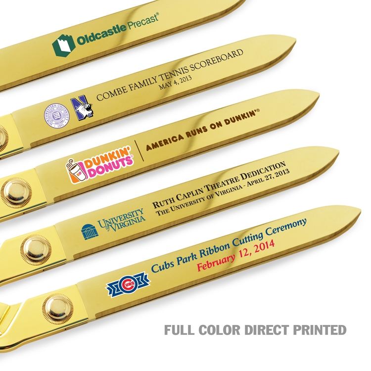 "15"" Gold Ceremonial Scissors - Full Color Direct Printed Examples"