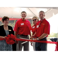 """20"""" Ceremonial Scissors shown with Red Ribbon and Bow for Ribbon Cutting Ceremony"""