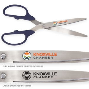 """36"""" Navy Ceremonial Scissors with Silver Blades for Grand Openings"""
