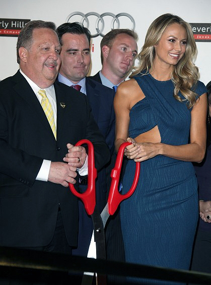 """36"""" Red Ceremonial Scissors with Silver Blades for Grand Opening"""