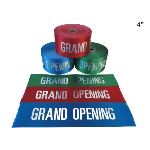 "4"" Red Blue Grand Opening Ribbon with Silver Lettering"