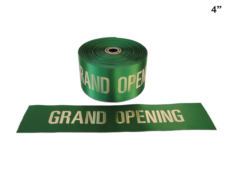 "4"" Green Grand Opening Ribbon with Gold Letters"
