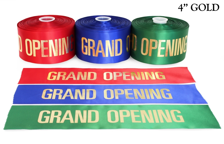 """4"""" Satin Grand Opening Ribbon with Gold Lettering"""