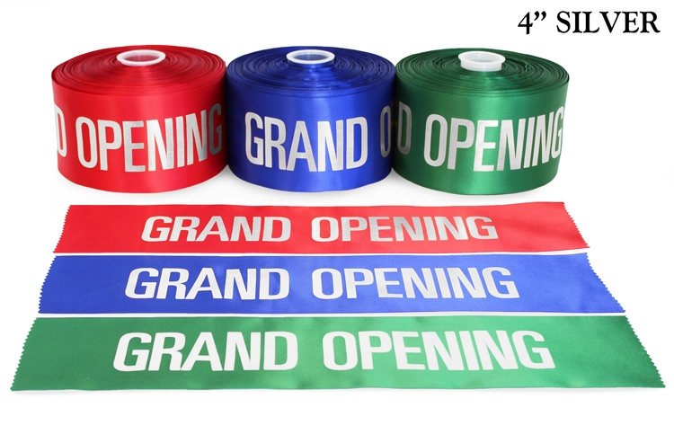 "4"" Satin Grand Opening Ribbon with Silver Lettering"
