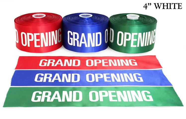 """4"""" Satin Grand Opening Ribbon with White Lettering"""