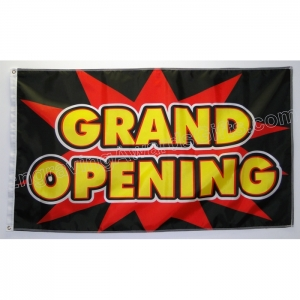 Grand Opening Flag, Black & Red Color Scheme
