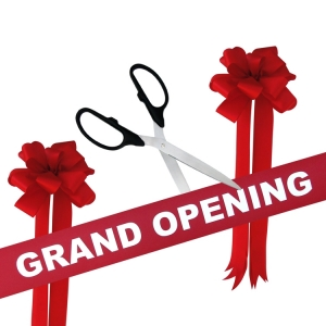 """Grand Opening Kit 25"""" Ceremonial Scissors Colored Handles with Silver Blades"""