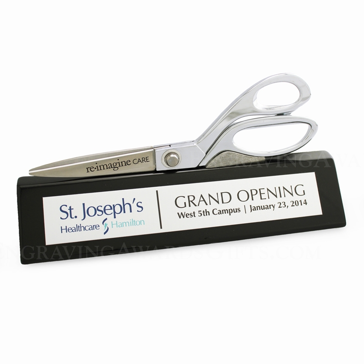 "9-1/2"" Ceremonial Scissors Wedge Display Stand - Black Piano Finish"