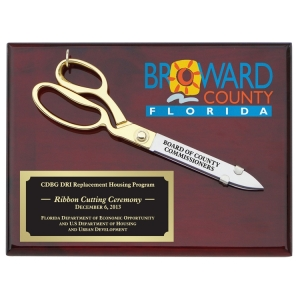 "10-1/2"" Ceremonial Scissors Piano Finish Plaque"