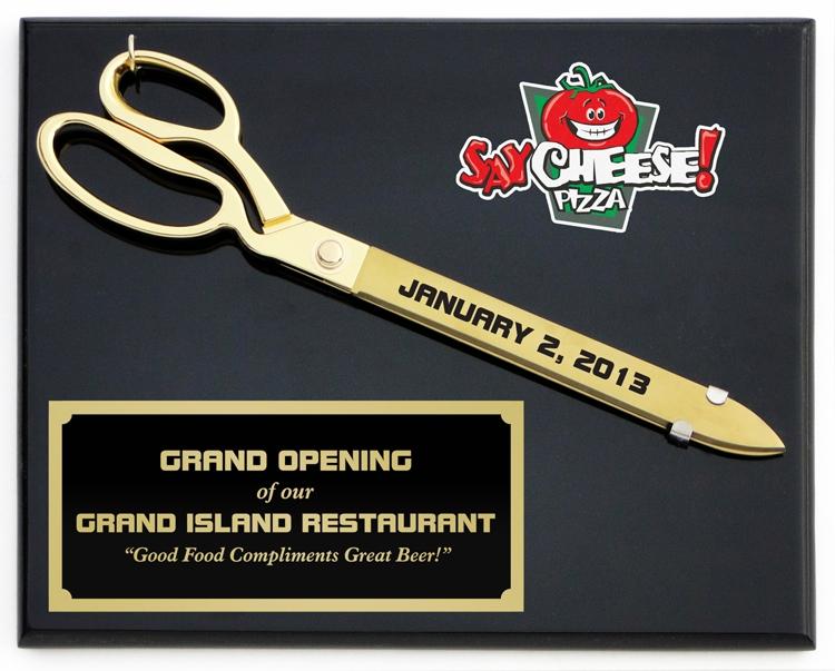 "15"" Ceremonial Gold Plated Scissors Piano Finish Plaque"