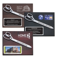 "15"" Chrome Plated<br>Ceremonial Scissors Piano Finish Plaques"