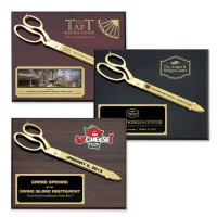 "15"" Gold Plated Ceremonial Scissors Piano Finish Plaques"