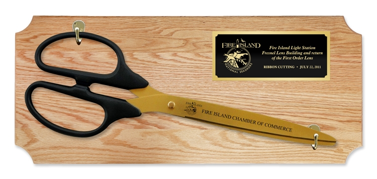 "25"" Ceremonial Ribbon Cutting Scissors Oak Plaque"