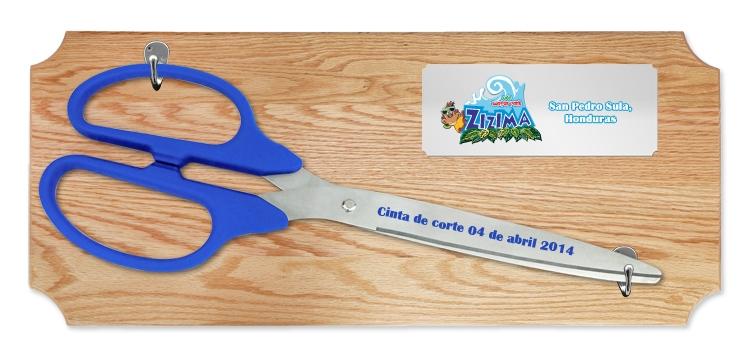 "25"" Ceremonial Ribbon Cutting Scissors Oak Plaque"